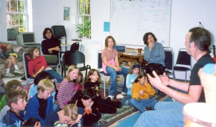 Resident Jerome Kitzke with students at The Primrose School, Dutchess County, NY