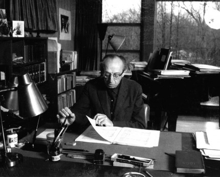 Aaron Copland at his Workdesk. Photo by Victor Kraft.